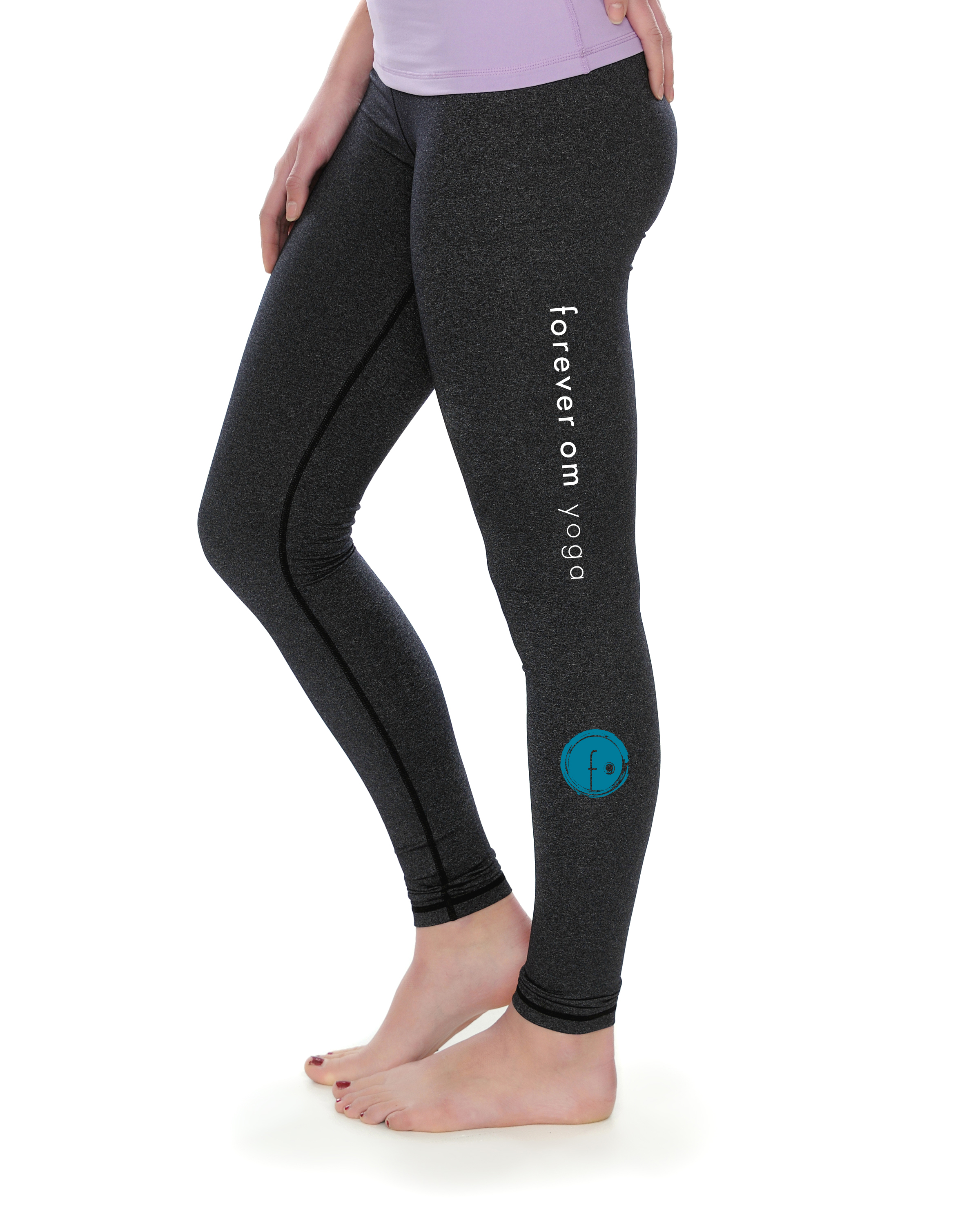 fantastic savings discover latest trends search for official NEW Heather Black Crane Leggings (Forever Om Yoga w/ Blue Logo) Forever Om